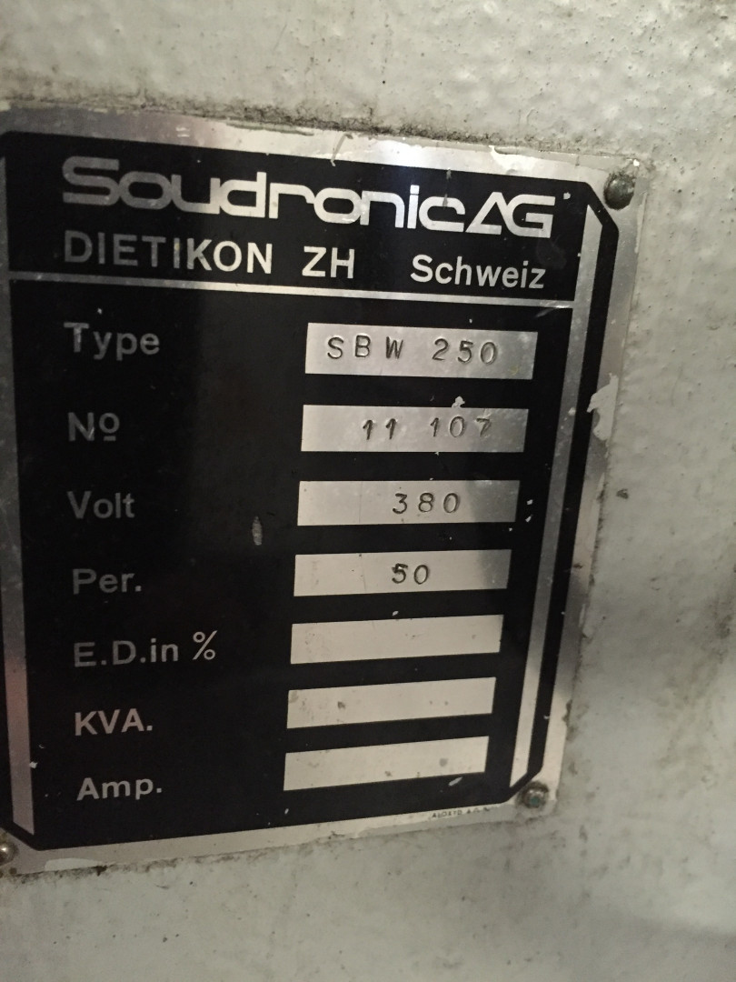 Soudronic SBW 250 bodymaker welder