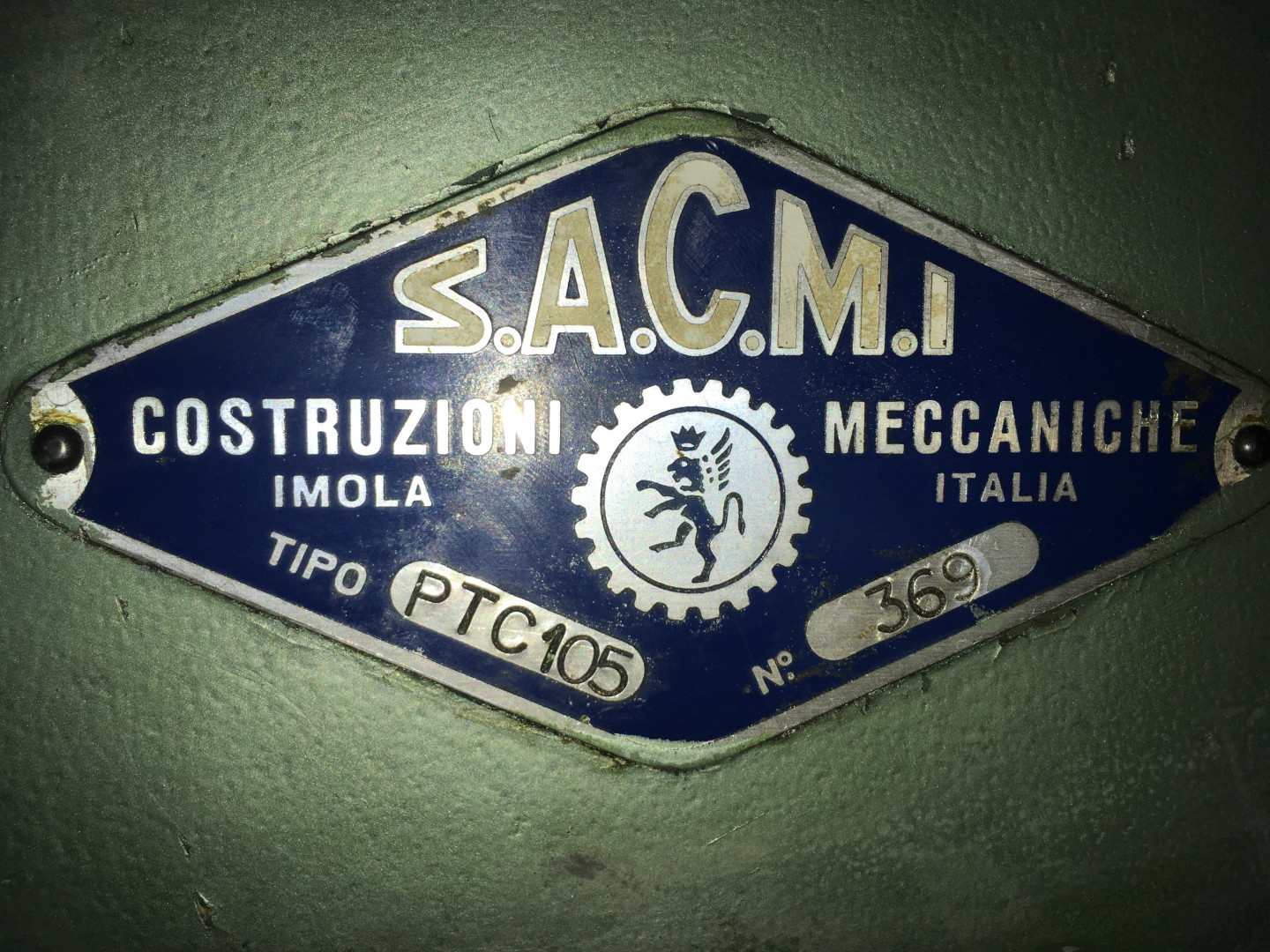 Sacmi press identification plate