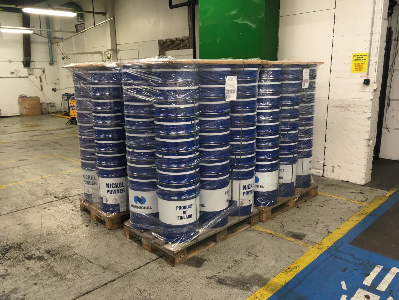 57 liter samples on pallet