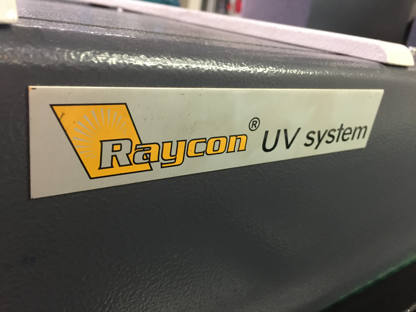 machine identification plate Raycom UV system