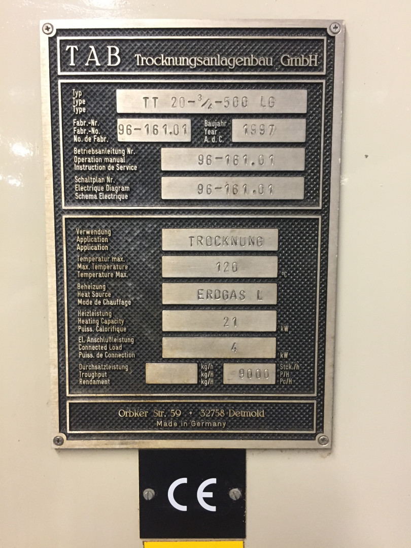 TAB TT 20-3/4-500 LG pocket oven
